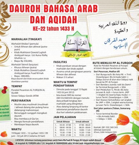 Dauroh Bahasa Arab dan Aqidah Ke-22 Tahun 1433 H Ma'had Al Furqon Gresik